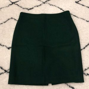 Forest green wool J crew pencil skirt size 8